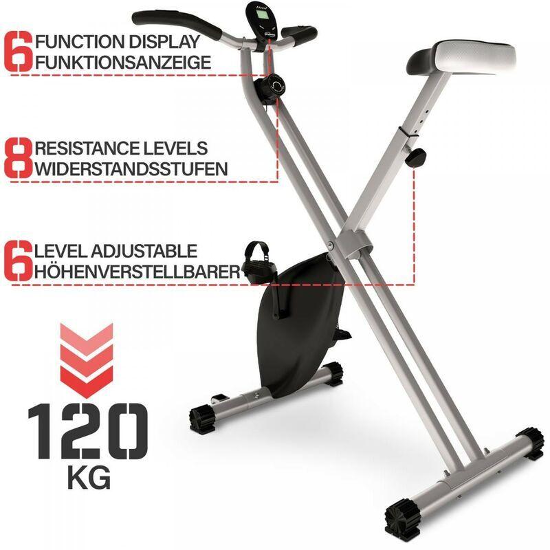 ECOMSOF Vélo d'Appartement Exercice Fitness Intérieur Pliable avec Écran LCD, 120 kg