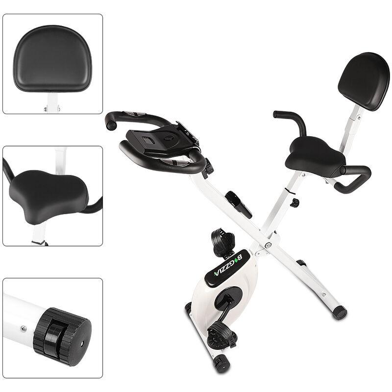 BIGZZIA Vélo d'appartement Pliable - Niveaux de résistance réglables - Vélo d'Exercice d'Intérieur Vélo Maison Entraînement Gym Cardio Noir et Blanc