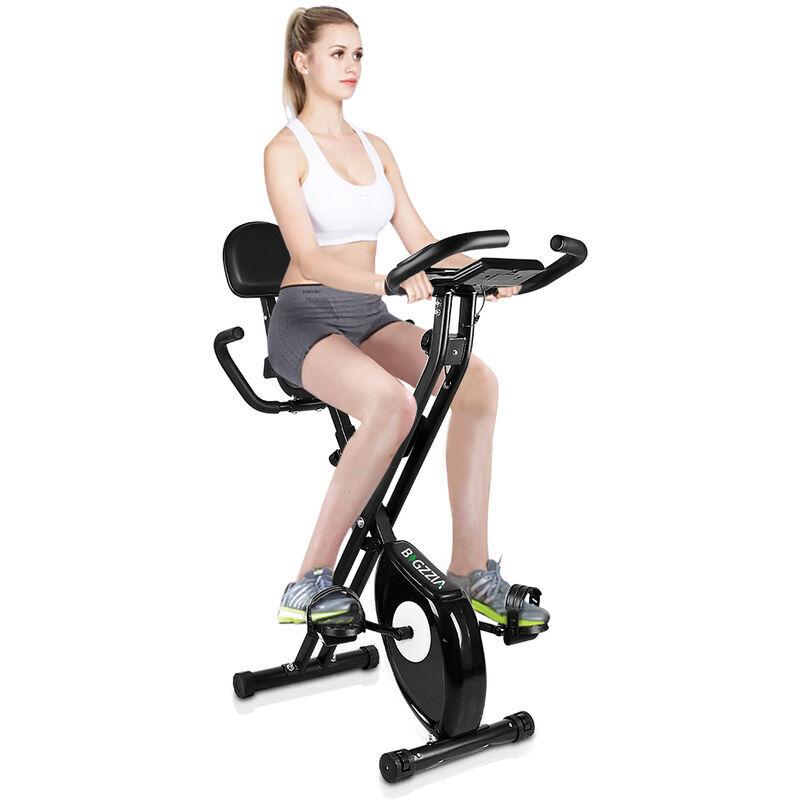 BIGZZIA X-Bike Pliant Vélo d'appartement Pliable avec dossier - Écran LCD avec rythme cardiaque - Vélo d'Exercice d'Intérieur Noir