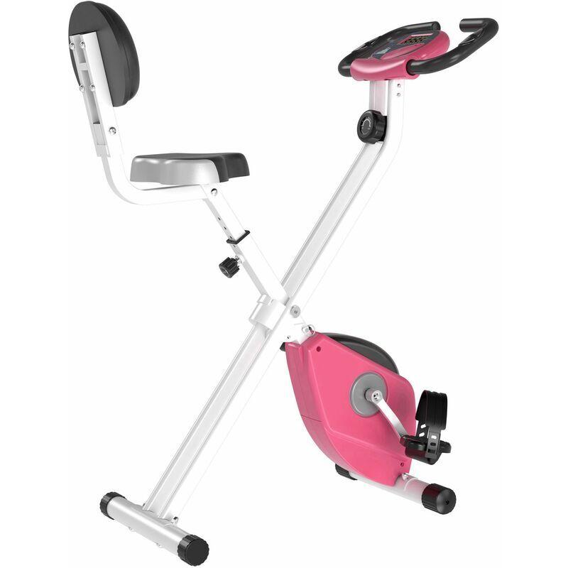 HOMCOM Vélo d'appartement pliable 8 niveaux de résistance magnétique selle réglable dossier écran LCD multifonction capteur fréquence cardiaque rose