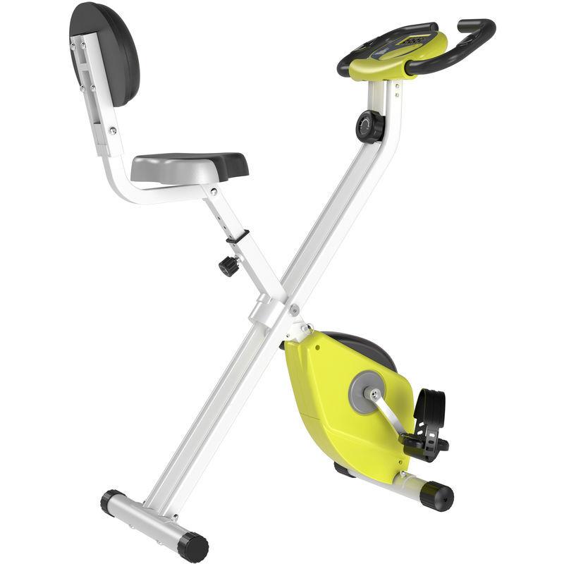 HOMCOM Vélo d'appartement pliable 8 niveaux de résistance magnétique selle réglable dossier écran LCD multifonction capteur fréquence cardiaque jaune