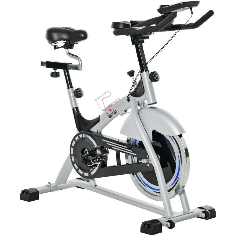 HOMCOM Vélo biking cardio vélo d'appartement écran LCD multifonction selle et guidon réglables volant inertie 15 Kg prolongateurs de cintre acier gris noir