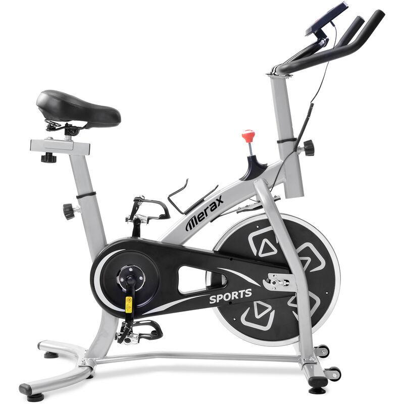 MERAX Vélo d'appartement Cardio Fitness Biking spinning, Vélo d'intérieur d'exercice maison réglable, Ecran LCD, Argent - 100kg