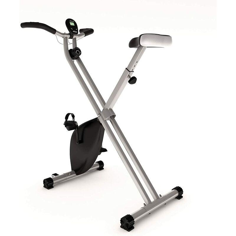 HELLOSHOP26 Vélo d'appartement pliable avec écran LCD selle réglable 8 niveaux de résistance magnétique vélo d'exercice de fitness d'intérieur