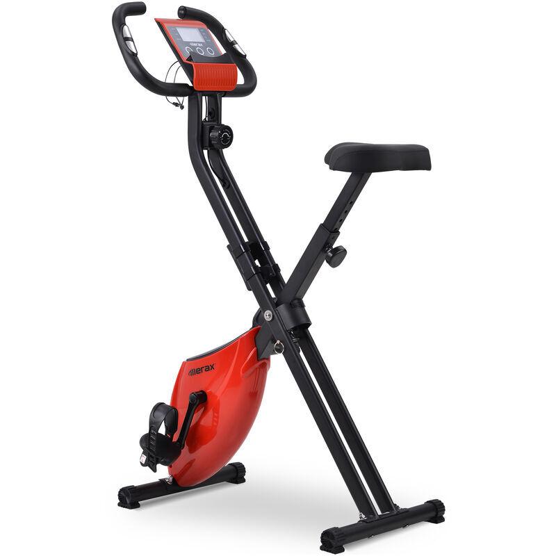 MERAX Vélo d'appartement pliable avec ordinateur d'entraînement & pulsomètre, 8 niveaux de resistance - Rouge
