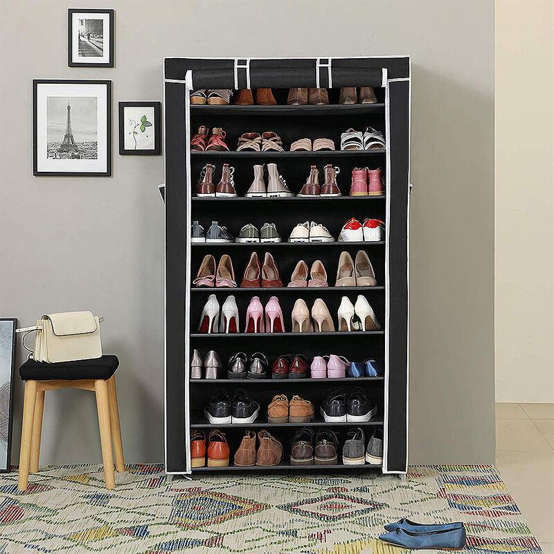 WYCTIN ®Armoire étagères à chaussures 9 couches 45 paires de chaussures avec housse 88 x 28 x 160cm noir - Wyctin