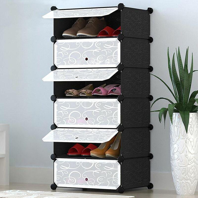 WYCTIN®Armoire modulable, Étagère de Rangement à Chaussures, en Plastique, 6 Compartiments, Montage Facile, Dimensions 110*45*35cm (L x l x H), Noire