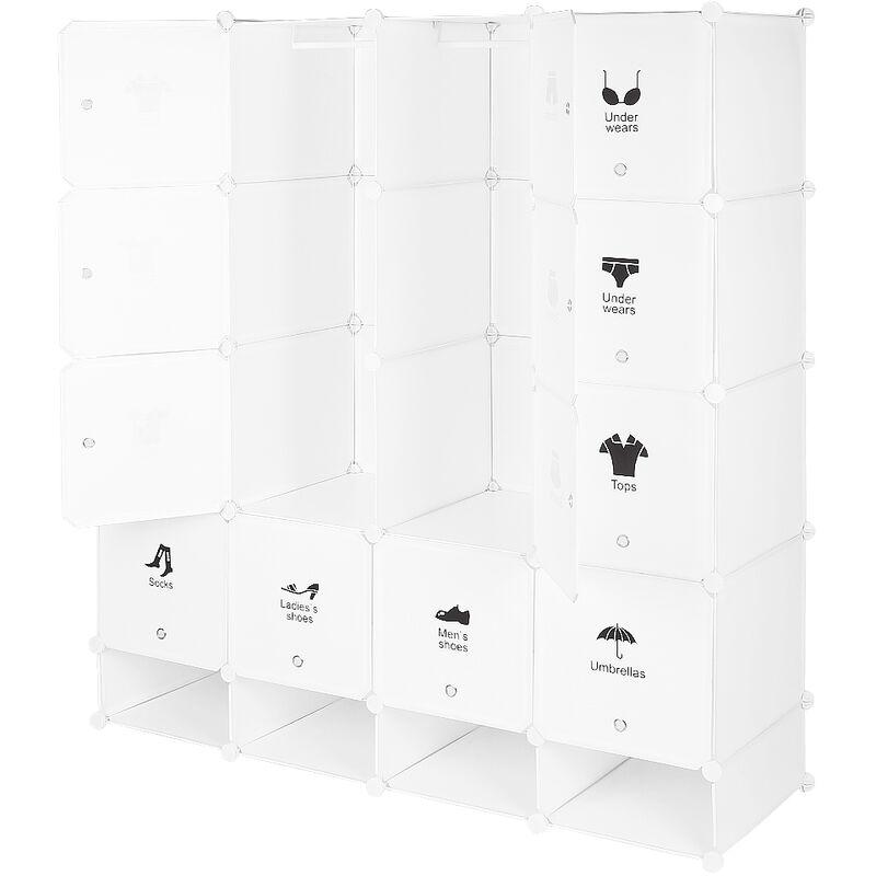 WYCTIN ®Armoires Etagères Plastiques - Penderie Plastiques, Meuble Rangement 16 Cubes Modulables + 4 Cubes Chaussures, Blanc - Wyctin