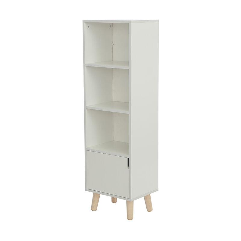 YONGQING®Étagère armoire meuble design bibliothèque 40*30*130cm bois de chêne massif - Blanc - Blanc