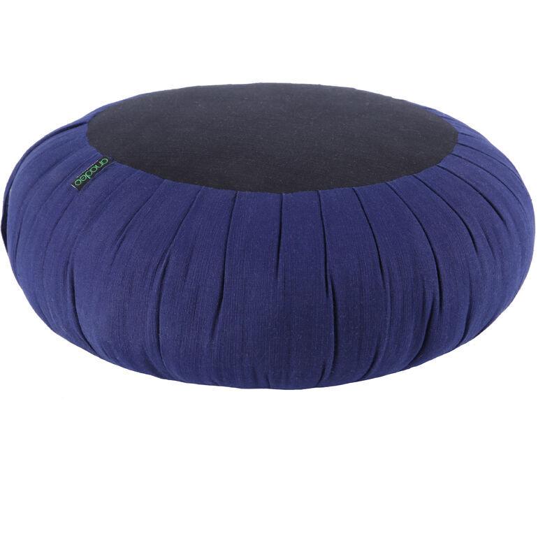 ANADEO YOGAPRODUCTS ZAFU - Coussin de Yoga et de Méditation - Kapok Haute Densité 100% Naturel - Assise Ferme et Confortable - Rond épaisseur 15 cm - INDIGO NOIR