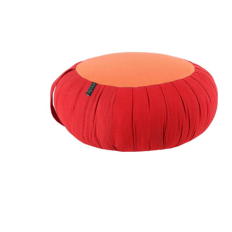 ANADEO YOGAPRODUCTS ZAFU - Coussin de Yoga et de Méditation - Kapok Haute Densité 100% Naturel - Assise Ferme et Confortable - Rond épaisseur 15 cm - ROUGE SAFRAN