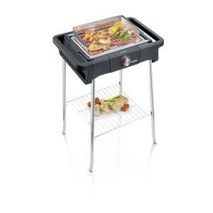 Severin PG8124 Barbecue sur pieds 2500W Style Evo S - 0° a 350° en 10mn - Bac a eau réducteur de fumée et d'odeurs - Pare-vent -Noir - Severin - Publicité