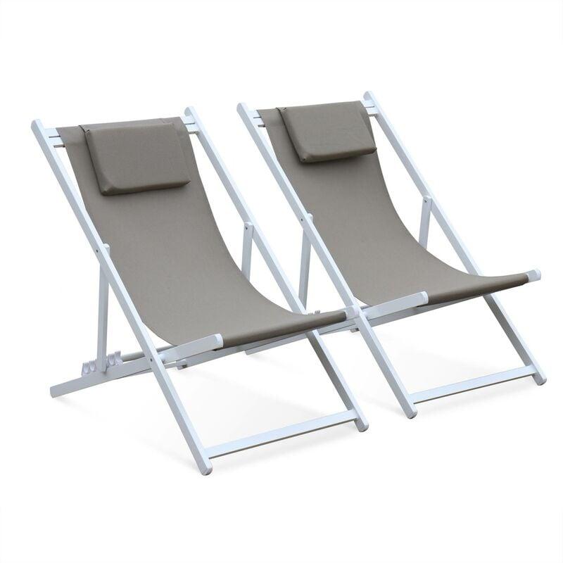 ALICE'S GARDEN Lot de 2 bains de soleil - Gaia taupe - en aluminium blanc et textilene taupe avec coussin repose tête. chilienne