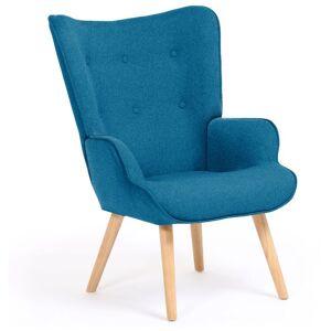 IDMARKET Fauteuil scandinave IVAR en tissu bleu canard - Publicité