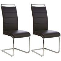 DYLAN Lot de 2 chaises de salle a manger - Simili noir - Contemporain - L 42.5 x P 56 cm <br /><b>145.78 EUR</b> ManoMano