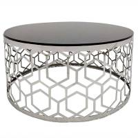 Cotecosy - Table basse Coralie en Verre Noir et pieds Argent - Noir / Gris <br /><b>259.00 EUR</b> ManoMano