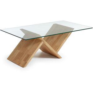 Kave Home - Table basse Waley rectangulaire 120 x 70 cm en bois massif de chêne et verre trempé - Publicité
