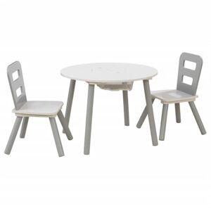 KidKraft Ensemble de Table de Rangement et Chaise pour Enfants Bois Massif Gris - Publicité