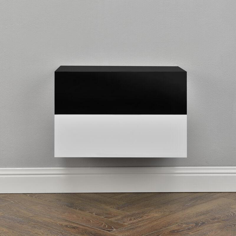 [en.casa] - 2 Étagères Murales pour Chambre à Coucher avec 2 Tiroirs Blanc Noir Laqué 46x30x15cm
