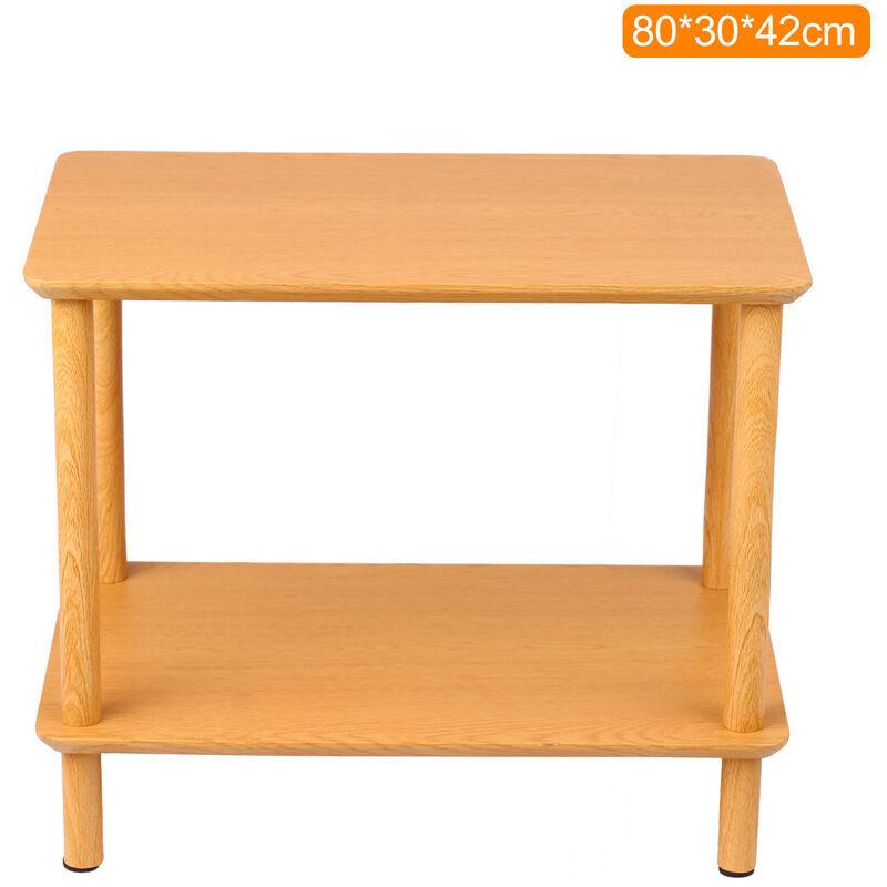 ASUPERMALL 2-Tier End Table Basse Table D'Appoint Table De Chevet Avec Open Wood Design Grain Motif Home Decor Meubles Pour Salon Chambre Balcon 80 * 30 * 42Cm,