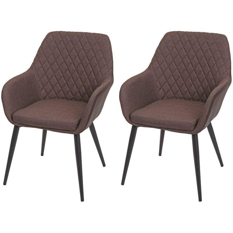 HHG 2x chaise de salle à manger 710, tissu/textile rétro ~ faux cuir brun vintage - HHG