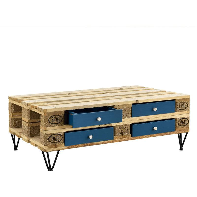 [EN.CASA] 4 comptoir pour meuble de palette Turquoise + 1 set de pied meuble d'épingle à cheveux 20 cm Noir
