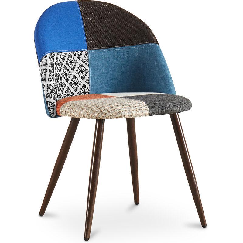 PRIVATEFLOOR Chaise de salle à manger tapissée scandi retro design patchwork pieds en bois sombre - Evelyne Pixi Multicolore
