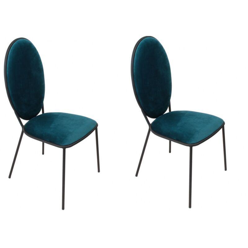 AC-DÉCO Lot de 2 chaises Louis - L 51 cm - Bleu - Livraison gratuite