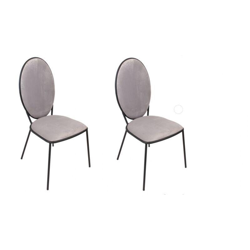AC-DÉCO Lot de 2 chaises Louis - L 51 cm - Gris clair - Livraison gratuite