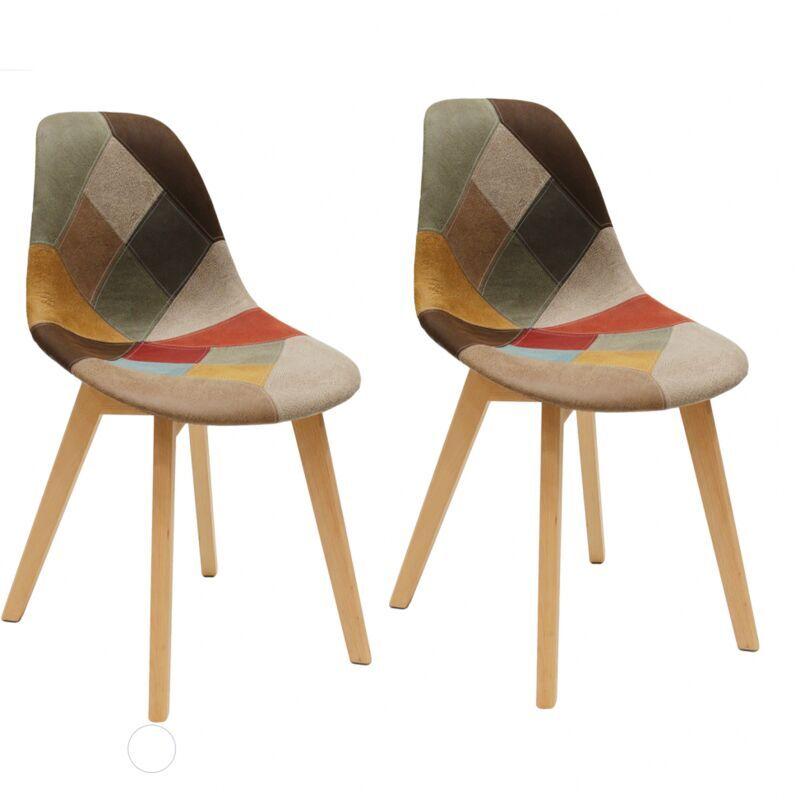 AC-DÉCO Lot de 2 chaises Patchwork Louisiane - Multicolore - Livraison gratuite