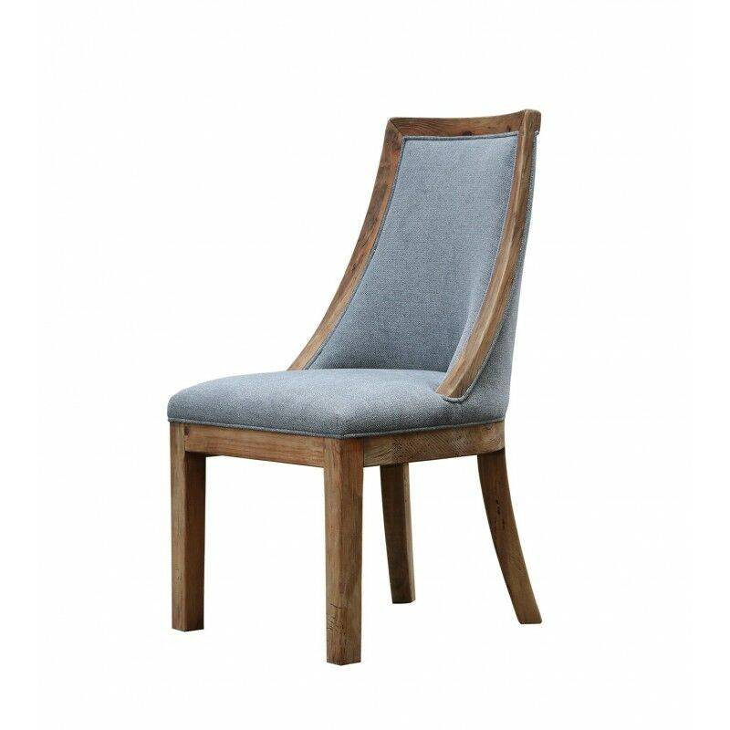 Meubletmoi - Chaise tissu gris en pin recyclé - CHALET - Gris