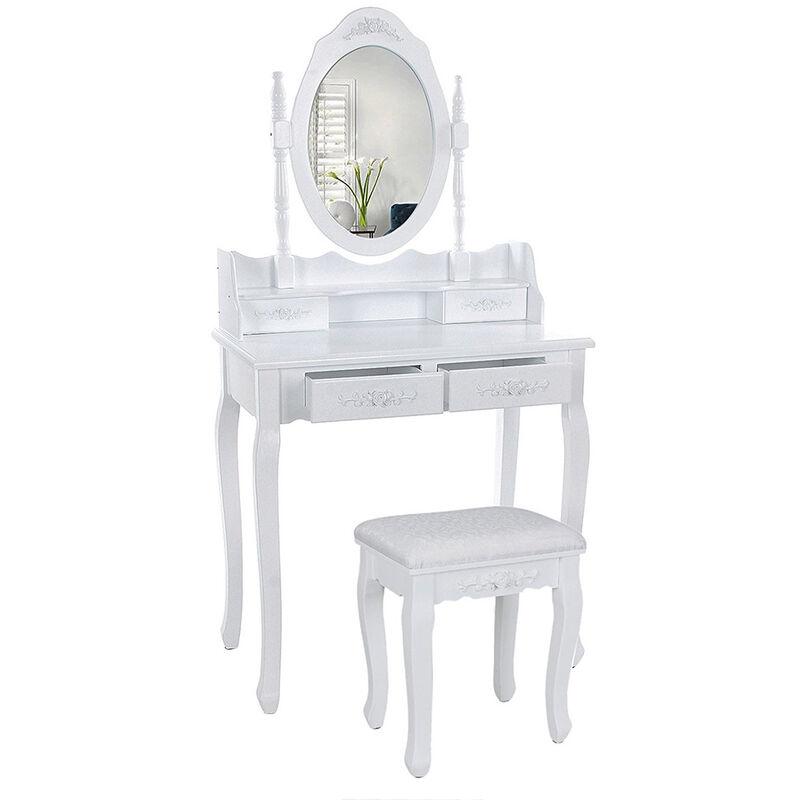 Jeobest - Coiffeuse cosmétique avec miroir et tabouret,4 tiroirs, pour chambre à coucher - Blanc