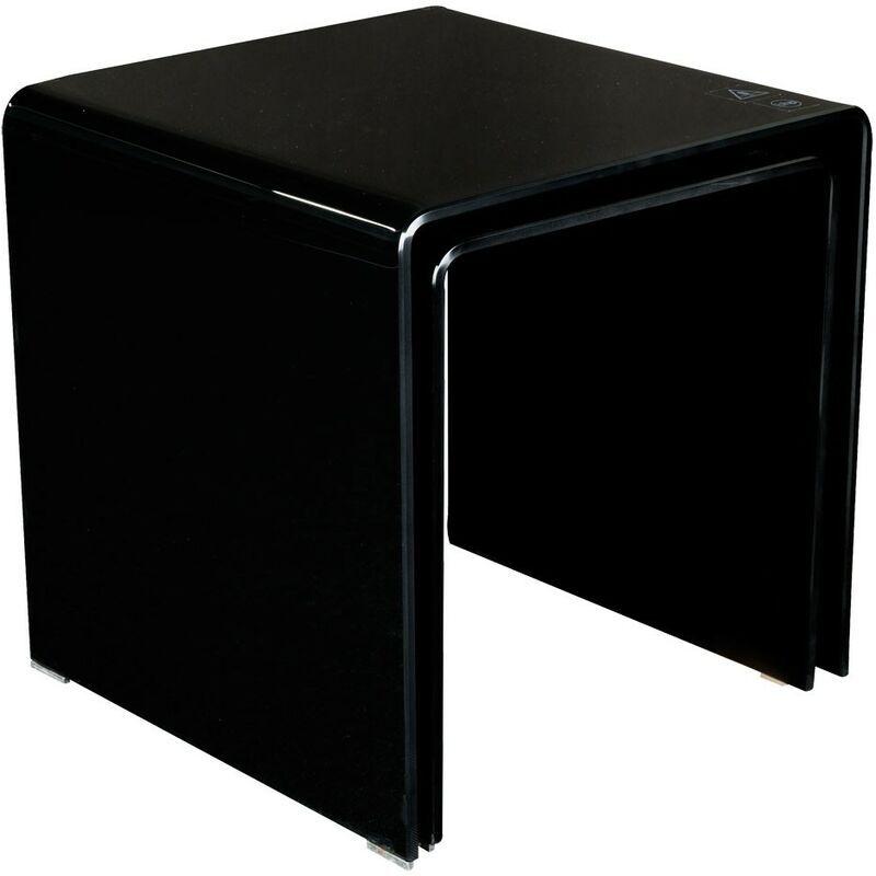 BHP 2 x table d'appoint verre noir courbé 10 mm meuble salle de séjour appartement maison chambre