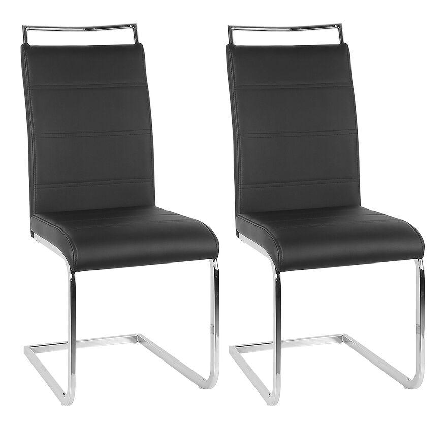 JEOBEST Ensemble de 2 chaises en porte-à-faux de chaise de salle à manger chaise chaise rembourrée chaise berçante noir