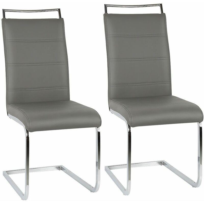 JEOBEST ®Ensemble de 2 chaises en porte-à-faux de chaise de salle à manger chaise chaise rembourrée chaise berçante gris - Gris - Jeobest