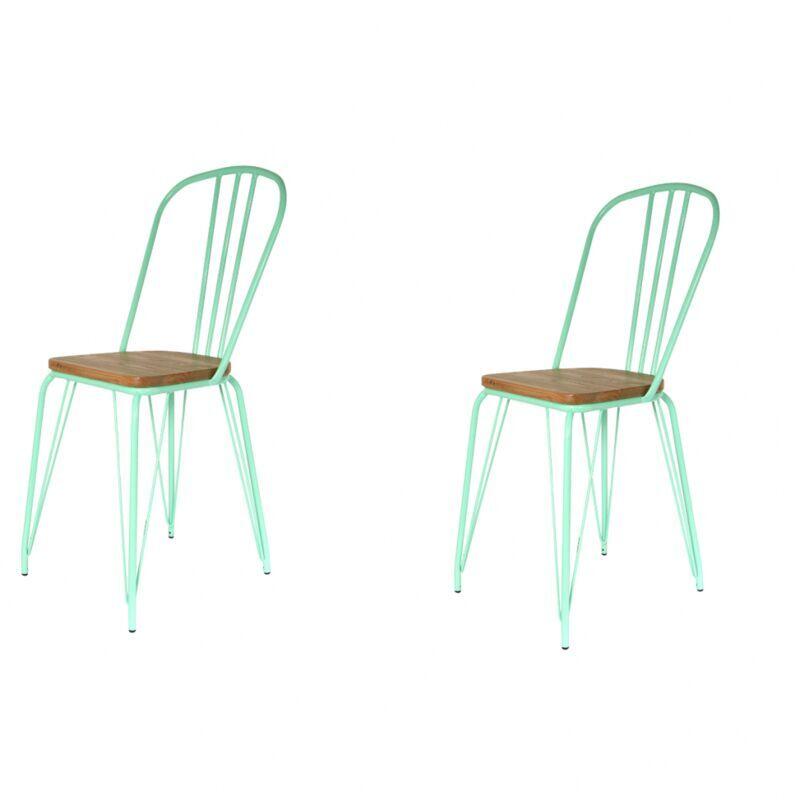 AC-DÉCO Lot de 2 chaises alliant métal et bois - Vert - Livraison gratuite