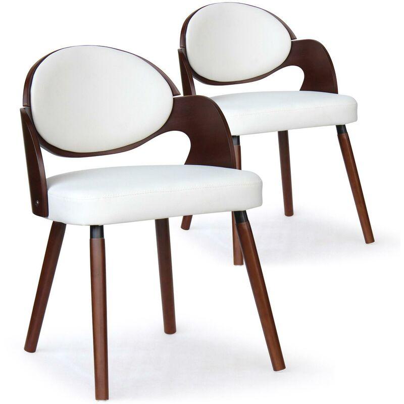 COTECOSY Chaise bois noisette et simili crème Sofa - Lot de 2
