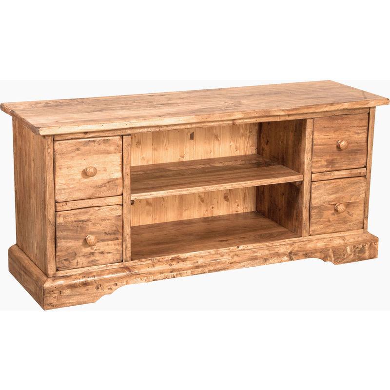 Biscottini - Meuble TV style rustique en bois massif de tilleul finition noyer L129xPR40xH60 cm