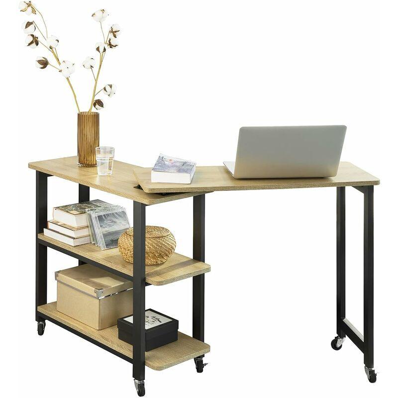 SoBuy FWT83-N Table d'appoint Rotative, Bout de Canapé à roulettes, Table Console Mobile avec 2 étagères de Rangement et 6 roulettes, Design