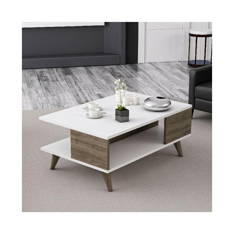 HOMEMANIA Table Basse Lyon Porte-Revues, Livres - avec etageres - pour Salon - Blanc, Noyer en Bois, 90 x 60 x 38,6 cm
