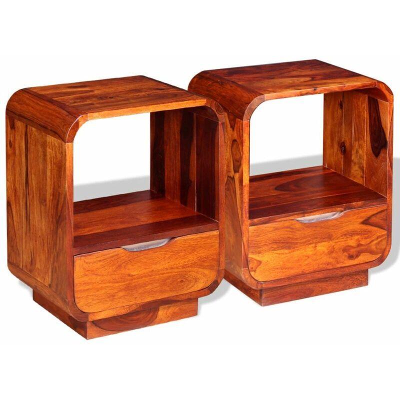 Helloshop26 - Table de nuit chevet commode armoire meuble chambre avec tiroir 2 pcs bois de sesham 40 x 30 x 50cm - Bois