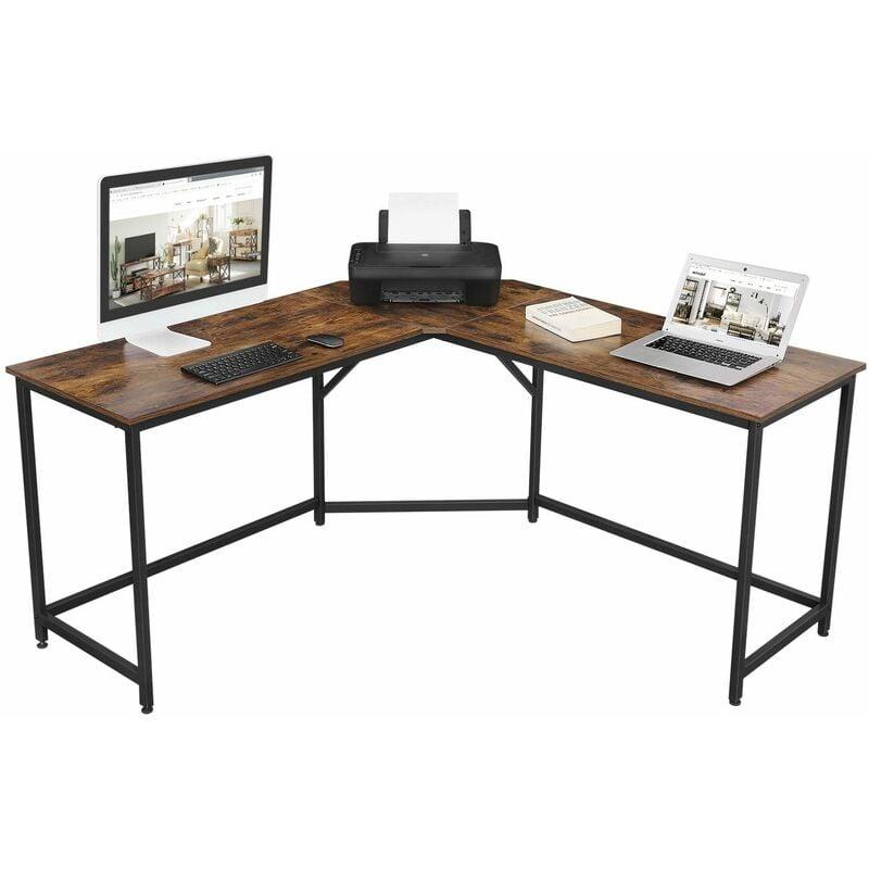Songmics - VASAGLE Bureau d'Angle, Table en Forme de L, pour Travailler et réviser, Bureau à Domicile, Gain d'espace, Montage Facile, Style