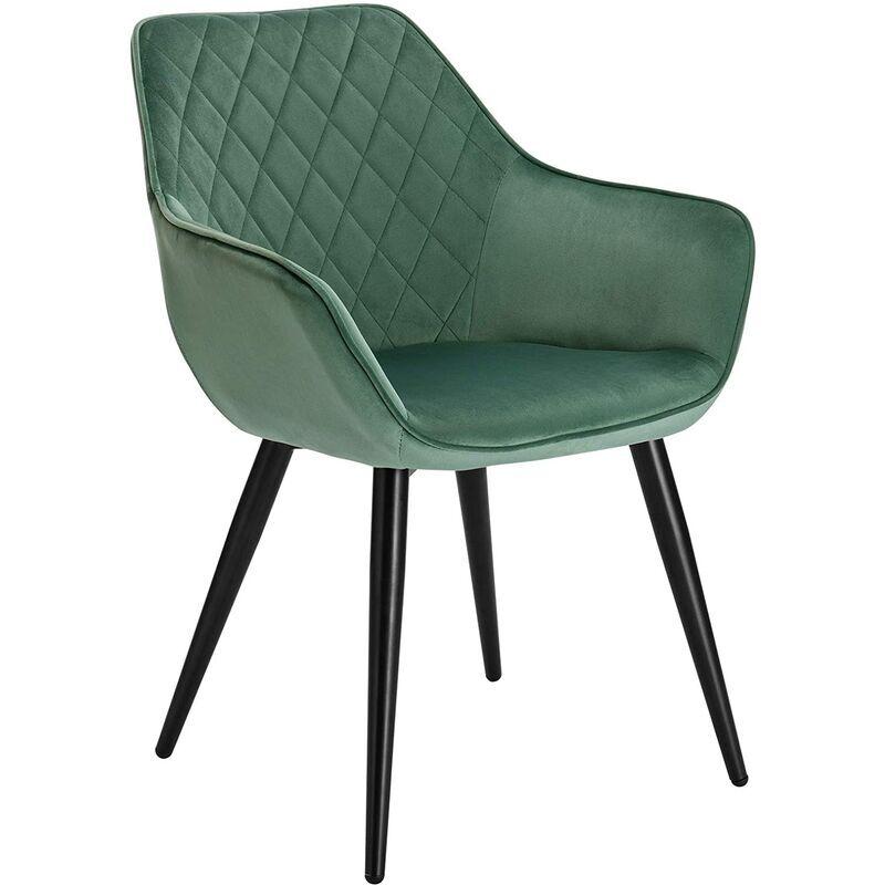 WOLTU 1 x Chaise de salle à manger. Chaise de salon-cuisine. Velours+métal. 45x41 cm. Vert Turc - Woltu
