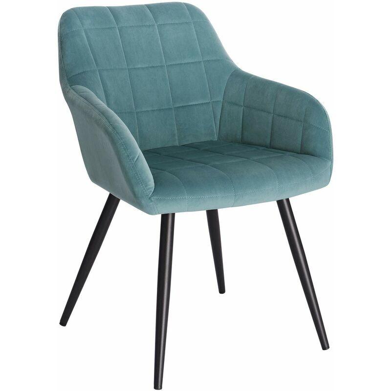 WOLTU Chaise de salle à manger siège bien rembourré en velours. Chaise de cuisine. pieds en métal. Vert Turc - Woltu