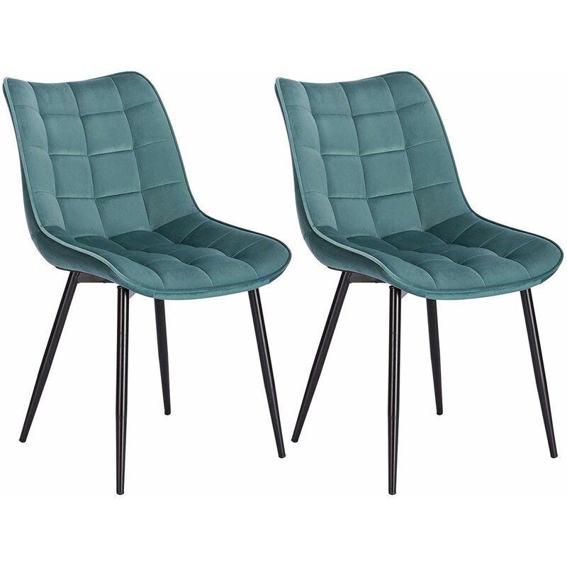 WOLTU Lot de 2 Chaises de salle à manger. Chaises de cuisine. Siège en velours. Pieds en métal. Vert Turc - Woltu