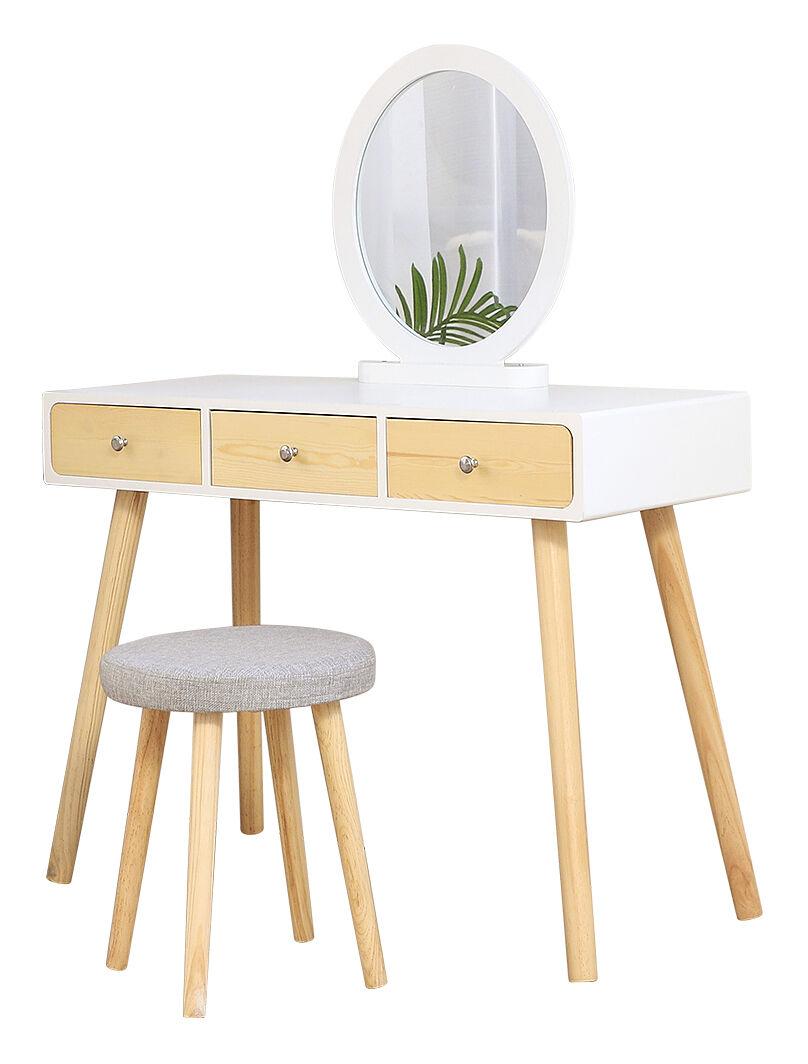 WYCTIN ® Coiffeuse Design scandinave Blanc Grand Surface 100x40cm Livraison avec le tabouret - Wyctin