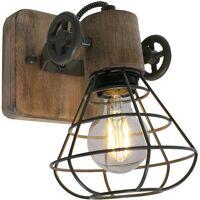 ANNE LIGHT & HOME Applique murale en bois design industriel lampe cage de salon spot vert orientable 1578G <br /><b>66.12 EUR</b> ManoMano
