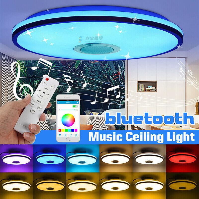 THSINDE 1 pcs Plafonnier étanche IP54,36W 3200LM, RGB coloré, lecture de musique Bluetooth, plafonnier LED rond pour salon, salle de bain, bureau à domicile,