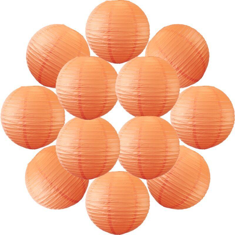 SKYLANTERN 12x Lanterne Papier 30 cm Corail - Suspension Boule Papier 30 cm (12'') type Lanterne Japonaise pour Decoration Mariage - 12 pièces - Le must de la