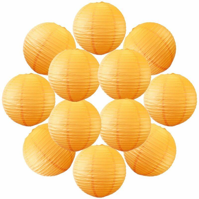 SKYLANTERN 12x Lanterne Papier 30 cm Orange - Suspension Boule Papier 30 cm (12'') type Lanterne Japonaise pour Decoration Mariage - 12 pièces - Le must de la